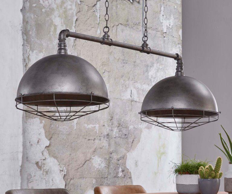 FURBO Loftslampe, antik sølv finish, 2 lamper