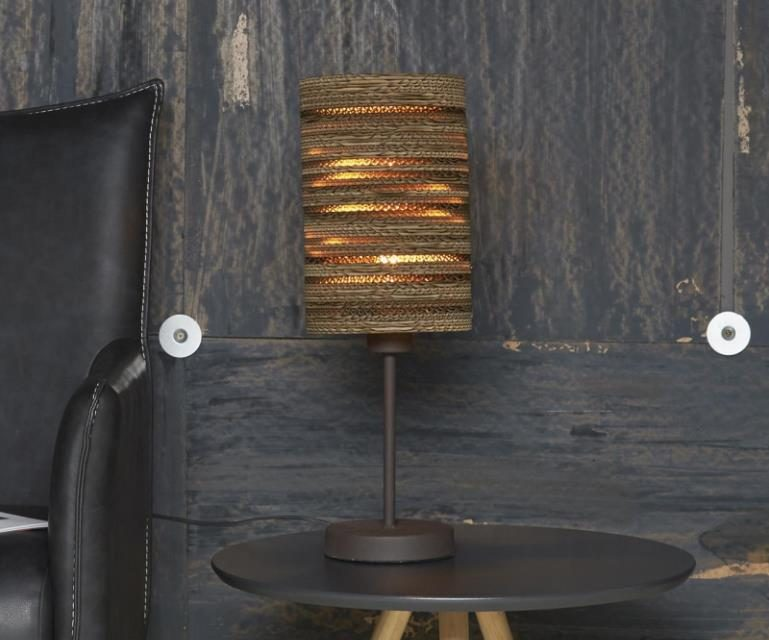 FURBO Bordlampe, metal, brun skærm
