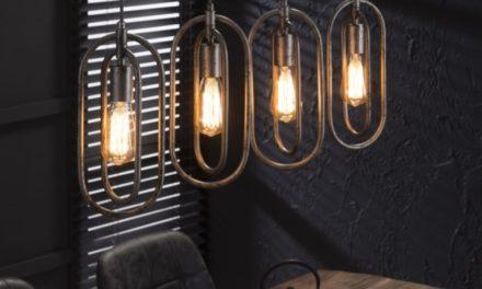 FURBO Loftslampe, antik sølv finish, 4 lamper