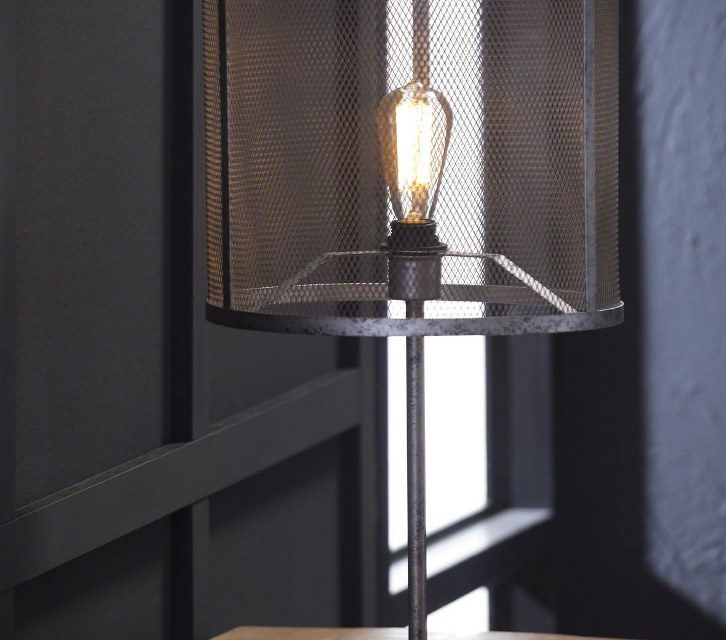 FURBO Bordlampe, industriel design, gammel sølv finish