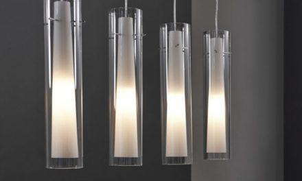 FURBO Loftslampe, glas, mat nikkel