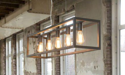 FURBO Loftslampe, industri design, sølv metal, 5 pærer