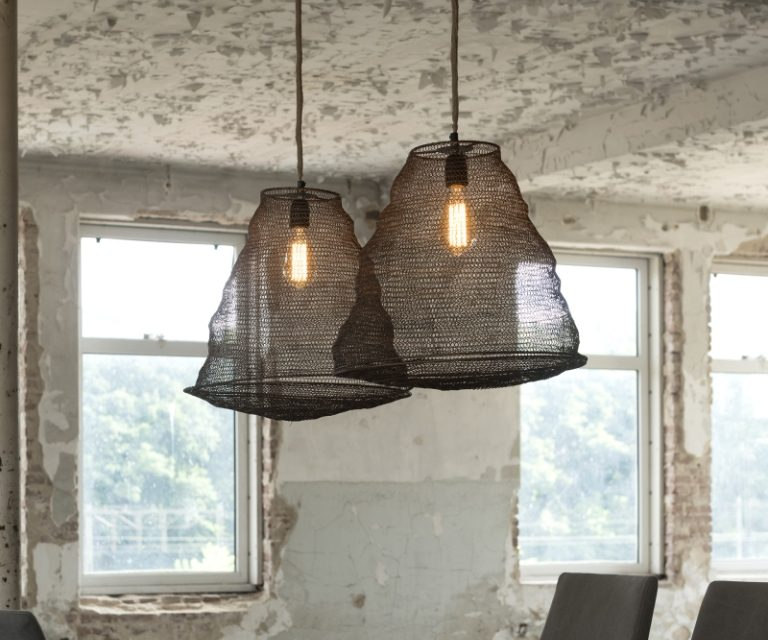 FURBO Loftslampe, tråd design, antik bronze