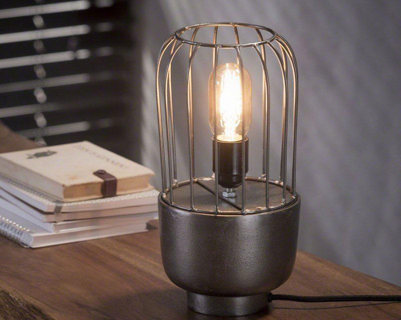 FURBO Bordlampe, industriel design, sort nikkel, højde 31 cm