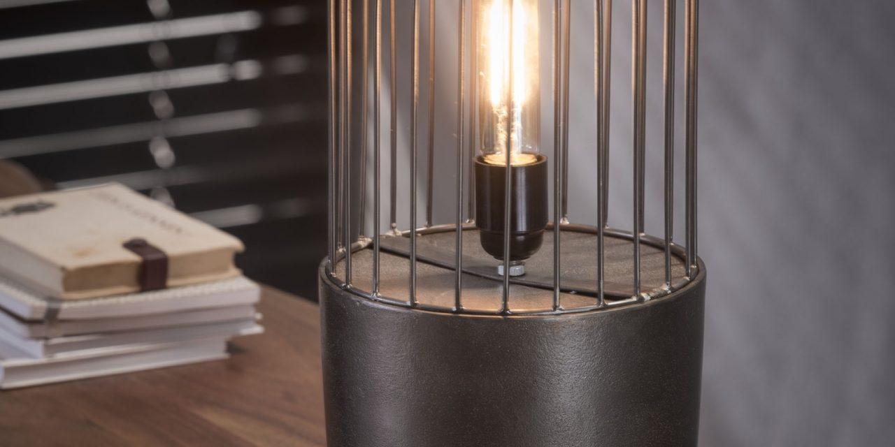 FURBO Bordlampe, industriel design, sort nikkel, højde 41 cm