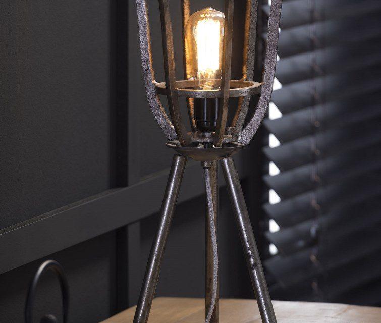 FURBO Bordlampe, industriel design, sort nikkel, højde 51 cm