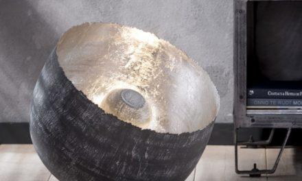 FURBO Rund bordlampe, patineret stål, højde 37 cm