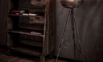 FURBO Gulvlampe, trefod, patineret grå metal