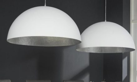 FURBO Loftslampe, 2 x ø 70 cm, hvid og antik sølv