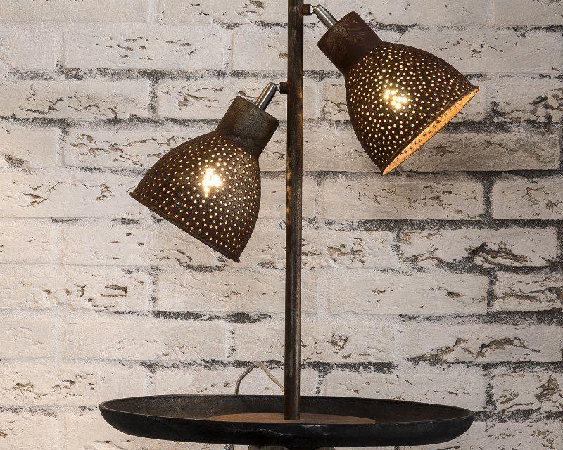 FURBO Dobbel bordlampe, brun patineret metal