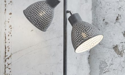 FURBO Dobbel bordlampe, grå patineret metal