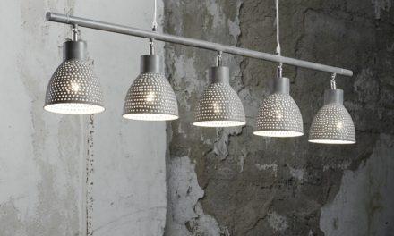 FURBO Loftslampe, patineret gråt jern, 5 lamper