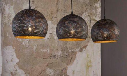FURBO Loftslampe, 3 ø 25 cm skærme, sort-brun metal