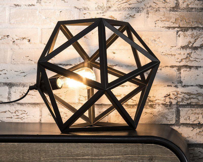 FURBO Bordlampe, industri design, sort metal, triangelformet