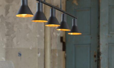 FURBO Loftslampe, sort-guld finish, 5 lamper