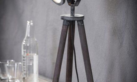 FURBO Bordlampe, patineret grå metal, ben i træ