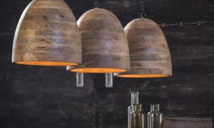 FURBO Loftslampe, massiv mango træ, 3 lamper