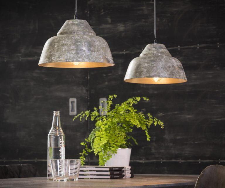 FURBO Loftslampe, patineret kobber, mango træ, 2 lamper