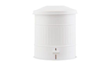 Pæn toilet spand med låg i hvid galvaniseret stål fra det kendte mærke House Doctor