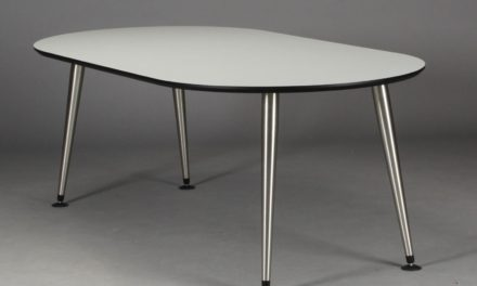 FURBO Spisebord, hvid laminat, satin ben, oval, 100 x 200 cm.