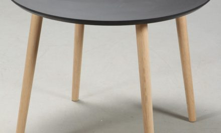 FURBO Spisebord, sort linoleum, egeben, ø 90 cm.