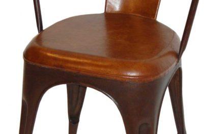 TRADEMARK LIVING Living Spisebordsstol – læder og antikrust stel