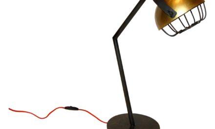 TRADEMARK LIVING bordlampe – mørkegrå/messing