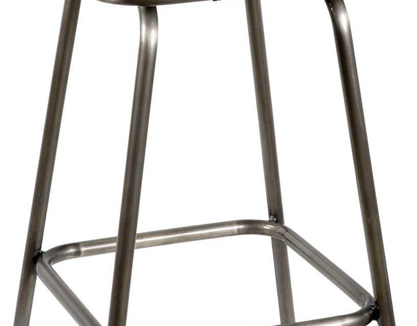 TRADEMARK LIVING Barstol m. brunt læder og jernstel m. klar lak