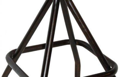 TRADEMARK LIVING Rustik høj skammel med lædersæde
