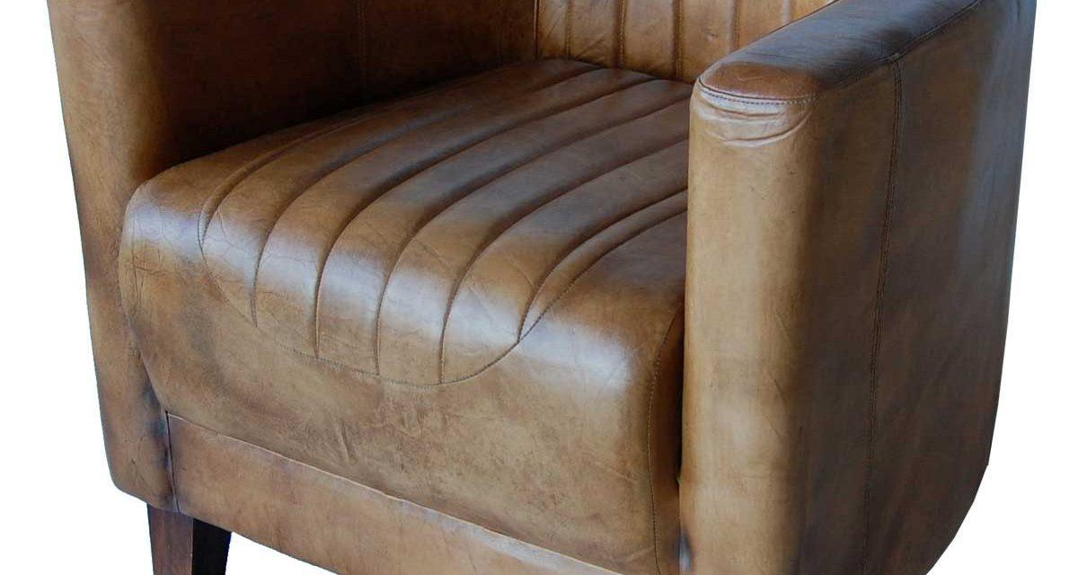 TRADEMARK LIVING Læderlænestol i antikbrun