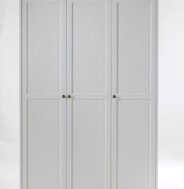 Paris garderobeskab 3 låger + bøjlestang – hvid