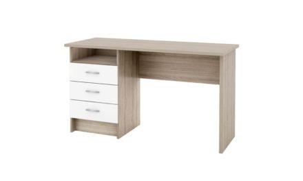 Function skrivebord – 3 skuffer, eg/hvid