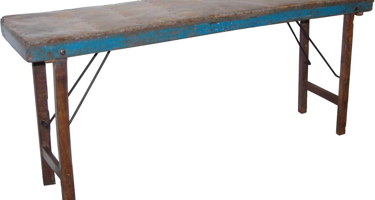 TRADEMARK LIVING Gammel konsolbord med zinktop