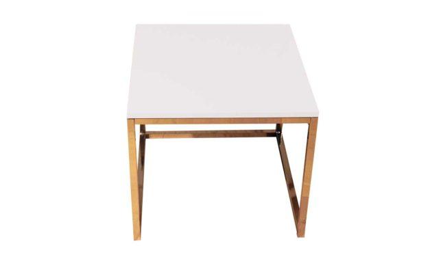Sofabord hvid – kvadratisk med stålstel i sølv