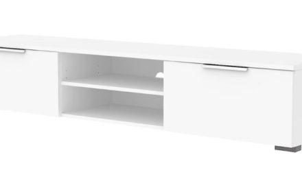 Match TV-bord – hvid højglans med skuffer og opbevaring