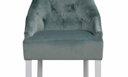 Stella spisebordsstol – aquafarvet stof/hvidt massivt lærketræ