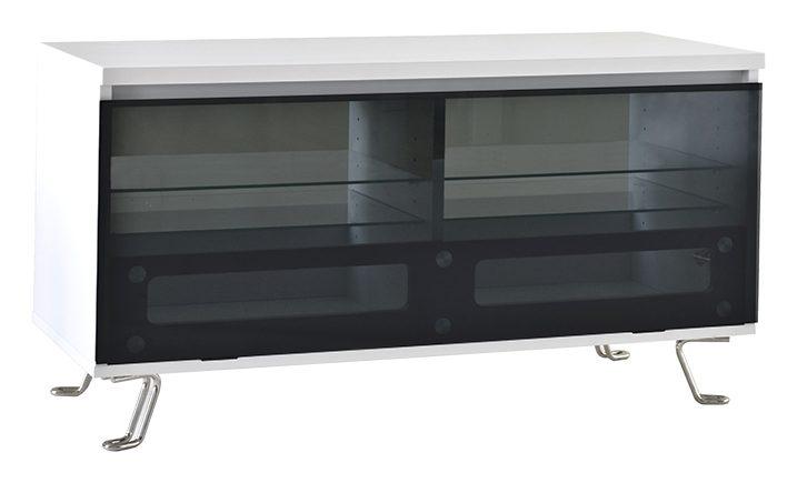 Cato TV-bord – hvid med glaslåge