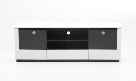 Etage TV-bord – grå/hvid med glaslåger