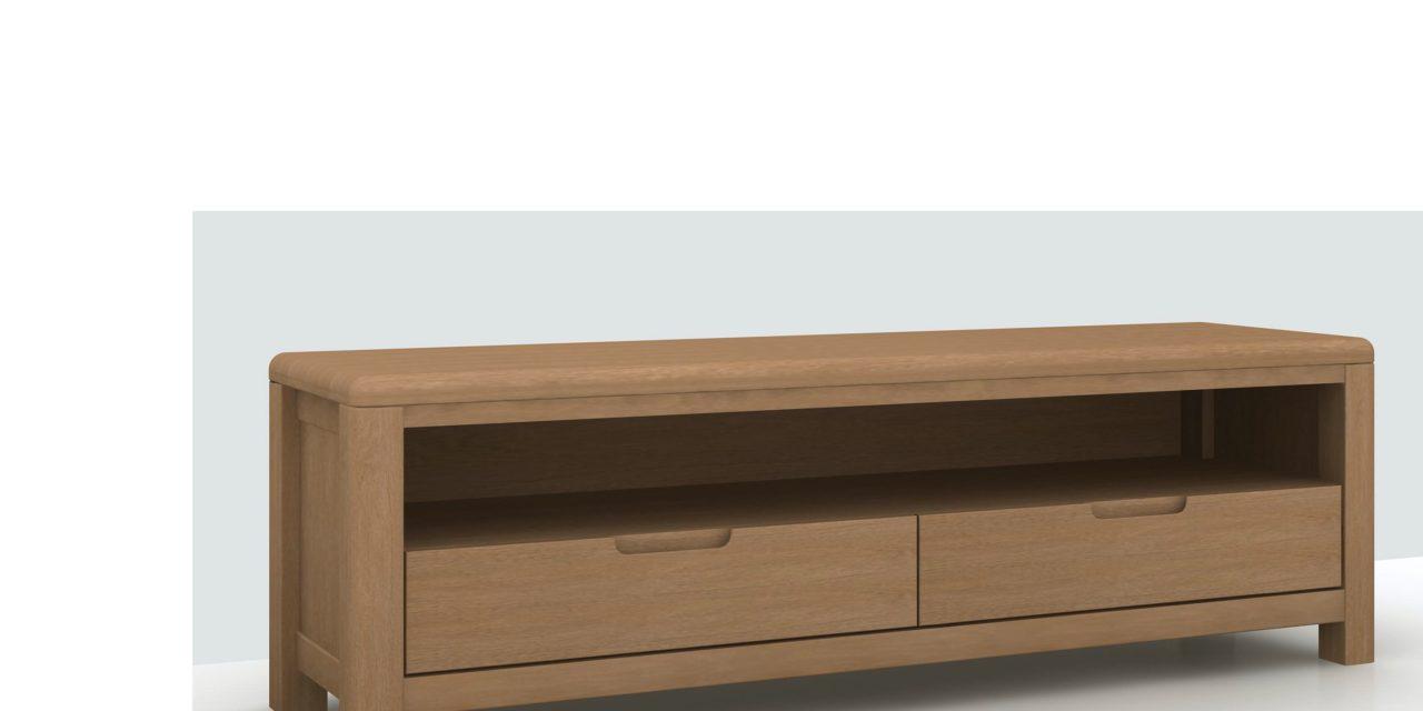 Lina TV-bord, massivt bøg – 2 låger