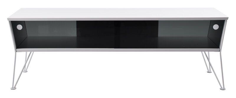 Ester TV-bord med skydelåger i glas – hvid