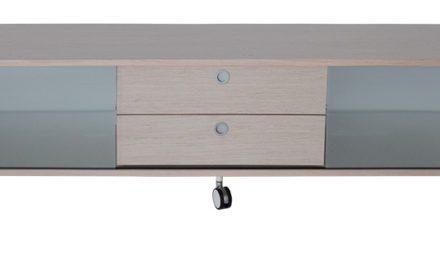 Alessi bred TV-bord med hjul, hvid, sort
