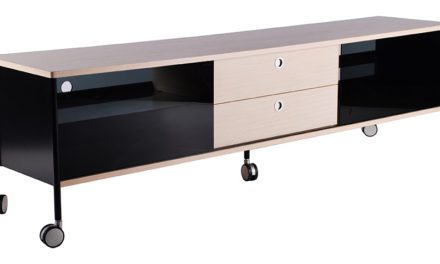 Alessi bred TV-bord med hjul, hvid, natur