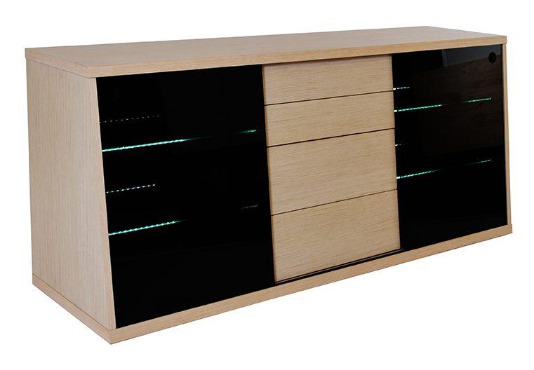 Flow TV-bord i eg med glashylder