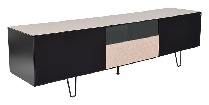 Leon TV-bord eg/sort med opbevaring og glashylder