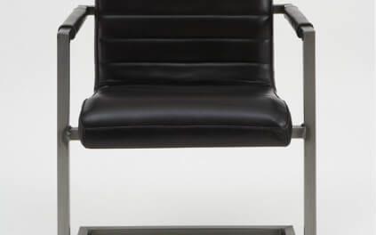 Sabina sort spisebordsstol med Armlæn, Ægte Læder
