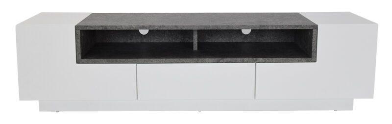 Yvette TV-bord – hvid med hylder i marmorlook