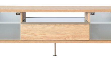 Frank TV-bord med skuffe og glashylde – natur