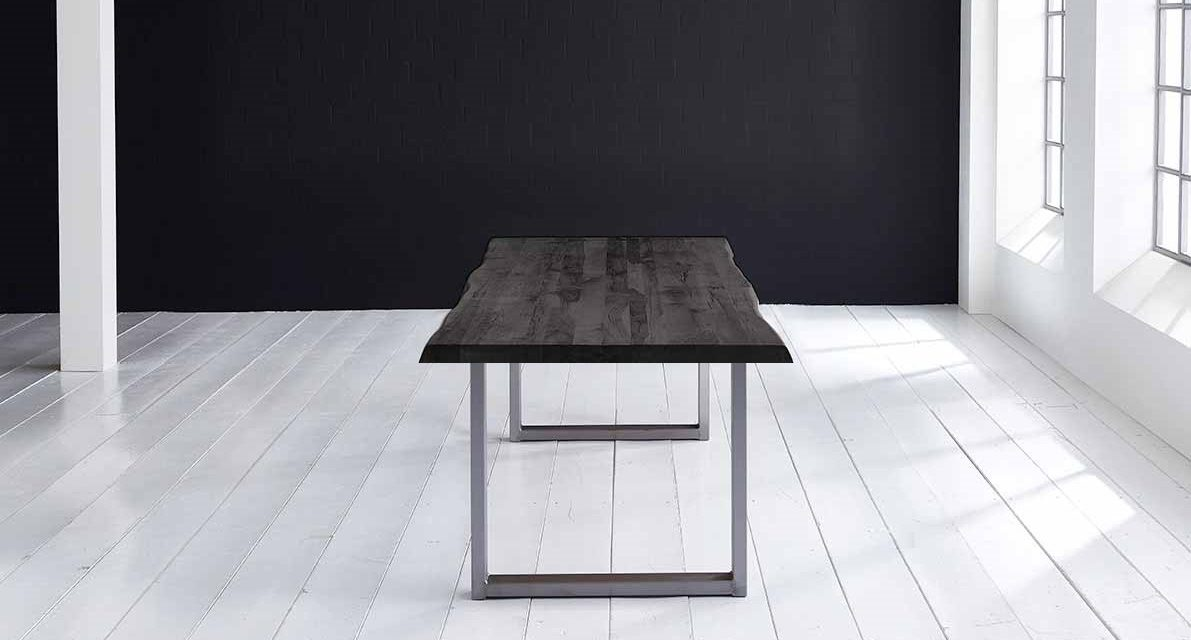 Concept 4 You Plankebord – Barkkant Eg med Manhattan ben, m. udtræk 6 cm 220 x 100 cm 07 = mocca black
