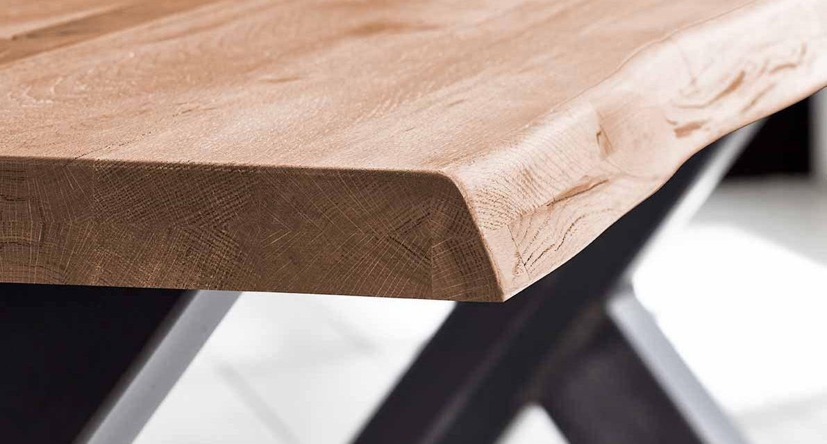 Concept 4 You Plankebord – Barkkant Eg med Steven ben, m. udtræk 6 cm 260 x 100 cm 03 = white wash