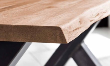Concept 4 You Plankebord – Barkkant Eg med Steven ben, m. udtræk 6 cm 300 x 100 cm 03 = white wash